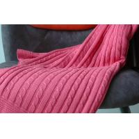 China Self Edge red Pure Combed Cotton Knit Throw Blankets for beds large 1.27M X 1.52M on sale
