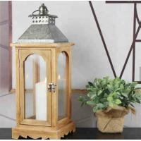 China Festival Wedding decoration wooden lantern 4side with glass panels and glvanzine top for decoration natural Wood lantern on sale