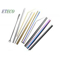 China Blue Whisky Drinking Stainless Steel Reusable Straws High Polish Lead Free on sale