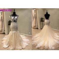 Quality Custom Made Champange Mermaid Style Wedding Dress With Boat Neckline Tulle wholesale