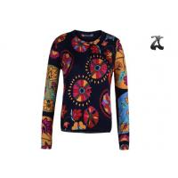 Quality Open Cardigan Womens Crew Neck Sweaters Button Down With Flower Printing wholesale