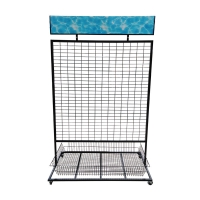 China Multi-Functional Supermarket Retail Mesh Wire Hanging Display Rack With PVC Billboards on sale