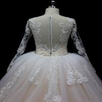 Cheap Long Sleeves lace application detached train mermaid wedding dresses for sale