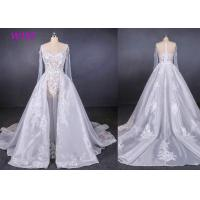 Quality Long Sleeves Transparent Female Wedding Dress With Train Brides Dresses wholesale