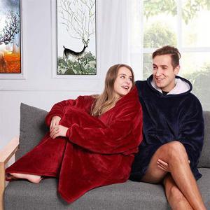 China Microfiber Plush Coral Fleece Sherpa soafa Blanket With Sleeves Outdoor Pocket Hoodie Adult Winter Hooded TV Blankets on sale