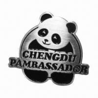 China Lapel Pin, Panda Shape Promotional Gift, Stainless Steel Metal Pin with Butterfly Clasp Back on sale