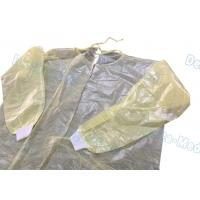 Ultrasonic Sewing Yellow Isolation Gowns , Isolation Waterproof Disposable Lab Gown