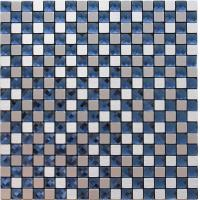 Quality Silver Brushed Particle Glass And Metallic Mosaic Wall Tiles With Blue Crystal Diamond Glass wholesale