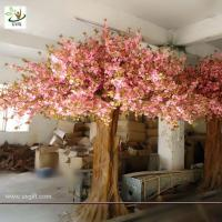 Cheap UVG pink wedding wishing tree artificial sakura flower trees for indoor decoration CHR013 for sale