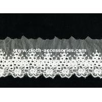 China Mesh Water Soluble Embroidered Lace Fabric Trims Polymide With Floral Patterned on sale