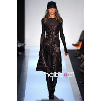 China Fashion runway 2014 new A-line long sleeve sequined brown mesh bandage evening dress on sale