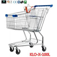 Quality Portable Metal Rolling Grocery Supermarket Shopping Trolley Carts Zinc Plated wholesale