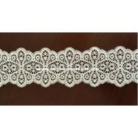 Quality Women Flower Off White Lace Fabric / Narrow Vintage Double Sided Lace Trim wholesale