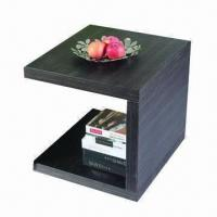 Quality End table with MDF and white high glossy painting/walnut wholesale