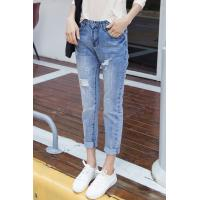 Quality Button Fly Light Fading Wrinkled Womens Tapered Jeans , Destroyed Skinny Jeans wholesale