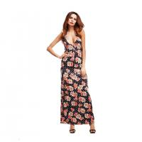 Quality O52282 Halter Sunflower Ladies Casual Beach Dresses Printed Maxi Cocktail Dress wholesale