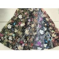 Quality Multi Color Embroidered 3D Flower Lace Fabric / Fabric , Bead Lace Tulle For Dress wholesale