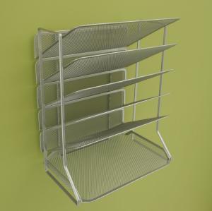 Office Mesh Magazine Display Racks Desk Organizer With 6 Tray