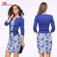 Quality JS 20 Lady Autumn Formal Printed Office Long Sleeve Latest Two Piece Women