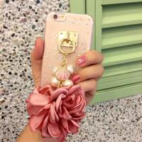 Quality Soft TPU Pink&Blue Pearls Fancy Chain Cell Phone Case Back Cover For iPhone 6 6s Plus wholesale