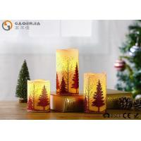 Quality S/3 Glittering Christmas Tree Decorative Candles LED Christmas Pillar Candles wholesale