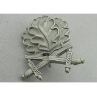 Quality 3D Leaves Shape Zinc Alloy Souvenir Badges, Memorial Badge with Cross Sword with Misty Nickel Plating wholesale