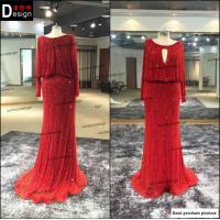 China Surmount Real Pictures Custom Made Round Neck Floor Length Sheath Long Sleeve Red Evening on sale