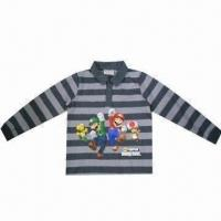 Quality TC children's long sleeves polo T-shirt, stripe yarn-dyed, phthalate-free transfer printing wholesale