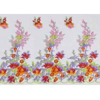 China Beautiful Floral Multi Colored Embroidered Tulle Lace Fabric For Bridal Gown Dress on sale