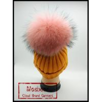 Quality Beautiful Orange Knitted Beanies Hats With Pink Raccoon Fur Pom Pom Large Balls wholesale