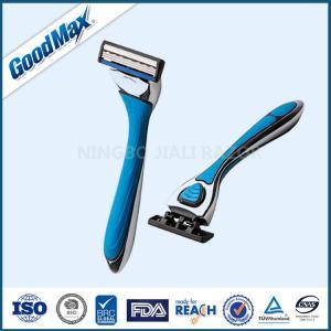 Quality Triple Blade Straight Edge Shaving Razor Men Use Blue With Chrome Coated Handle wholesale