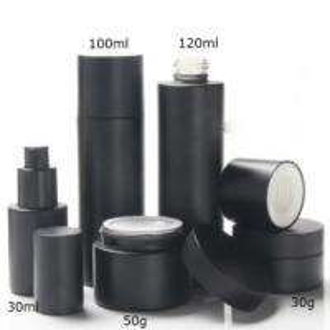 Quality Matte Black 30ml 100ml 120ml Glass Bottle with Lotiom Pump/Screw Cap and 30g 50g Glass Cream Jar wholesale