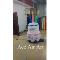 Quality best giant birthday party decoration inflatable birthday cake with led lights for celebrate wholesale