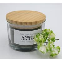 Buy cheap Straight cup with color label 280g wax filling candle glass with wooden lid from wholesalers
