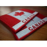 Quality Custom twill 100% embroidered Canada flag patches, plastic backing,sew-on,8.0cm*6.0cm, two colors wholesale