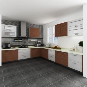 Custom Painting White Melamine Kitchen Cabinets , Spray Paint Melamine Cupboards
