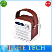 China Hot sale Leather covered portable retro wooden fm radio with bluetooth TF/AUX/Mini USB on sale