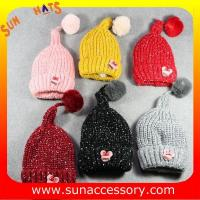 China AK17024 Sun Accessory winter kids knitted beanie caps and hats with pom pom ,caps in stock MOQ only 3 pcs on sale