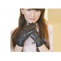 Quality Lace Lady's Black Sheep Lambskin Genuine Leather Gloves With Viscose / Microsofe Pile Lining wholesale