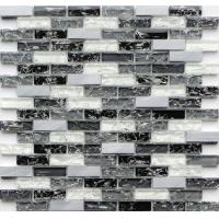 China Black and white rectangle crack crystal glass mix metal mosaic tile on sale