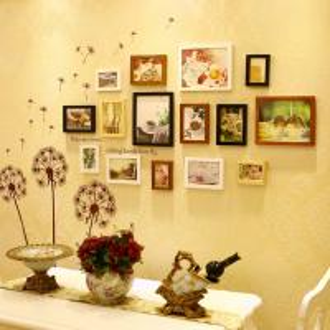 China wholesale 15 pcs photo wall home design photos Wedding Series Photo Frame Wall on sale