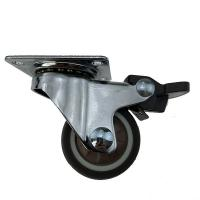 Quality 1 Inch 1.25 Inch TPR TPE Small Swivel Casters With Brake Top Plate wholesale