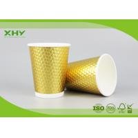 China 16oz Golden Metallic Diamond Double Wall Paper Cups for Coffee Hot Drink with Lids FDA Certificated on sale