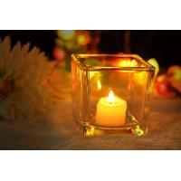 Quality 7 oz Square Thick modern glass candle holders / 230ml glass jar candle holders wholesale