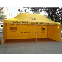 China 3x6m Yellow Polyester Folding Canopy Tent Waterproof With Powder Coated Steel Frame on sale