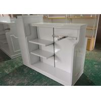 Quality High Gloss White MDF Clothing Store Shelves / Retail Store Fixtures For Children wholesale