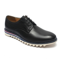 China Black Lace Up Anti Skid Mens Leather Casual Shoes on sale