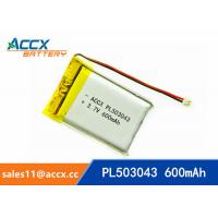 Quality 503043 pl503043 3.7v 600mah lithium polymer battery with pcm and jst conector battery rechargeable li-ion wholesale