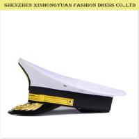 Quality Adjustable White Military Peaked Cap Embroidery Navy Captain Hat 56-58cm wholesale