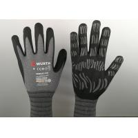 China Micro Foam Insulated Nitrile Gloves , Nitrile Dipped Gloves Raised Grain Pattern on sale